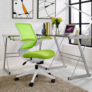 Edge White Base Office Chair in Green