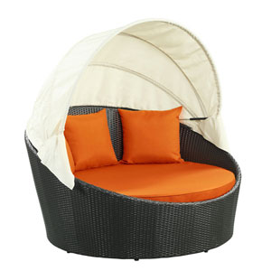Siesta Canopy Espresso and Orange Outdoor Patio Daybed
