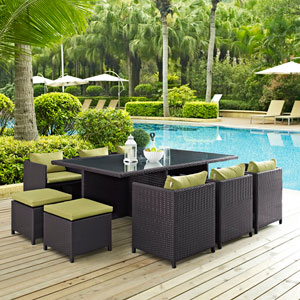 Reversal 11 Piece Outdoor Patio Dining Set in Espresso Peridot