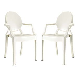 Casper Dining Armchairs Set of 2 in White