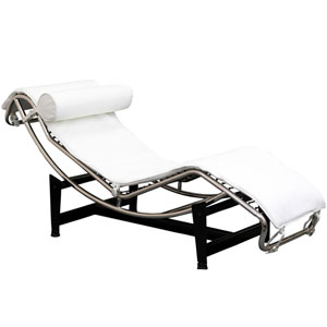 LC4 Leather Chaise in White