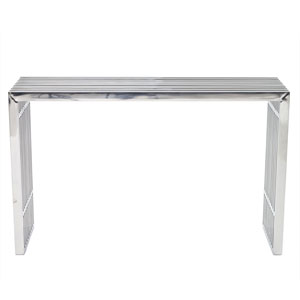 Gridiron Stainless Steel Console Table Console Table in Silver