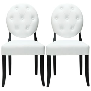 Button Dining Chairs Set of Two in White