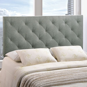 Theodore Queen Fabric Headboard in Gray