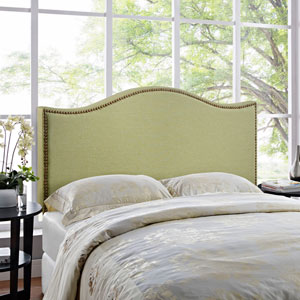 Curl Queen Nailhead Upholstered Headboard in Green