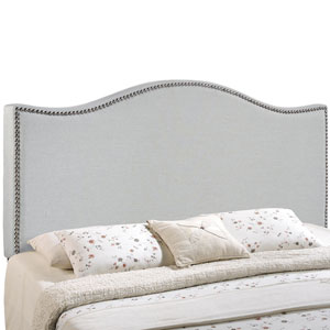 Curl Full Nailhead Upholstered Headboard in Sky Gray