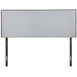 Region King Nailhead Upholstered Headboard in Sky Gray