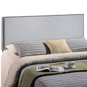 Region Full Nailhead Upholstered Headboard in Sky Gray