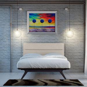 Addison King Wood Bed in Black Beige
