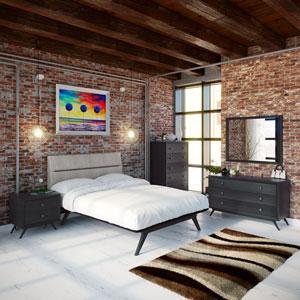 Addison 5 Piece Queen Bedroom Set in Black Gray