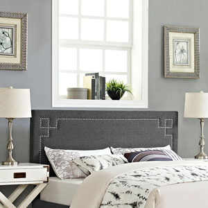 Josie King Fabric Headboard in Gray
