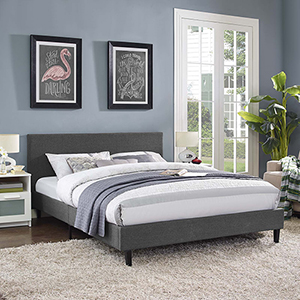 Anya Full Fabric Bed in Gray