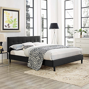 Linnea Full Faux Leather Bed in Black