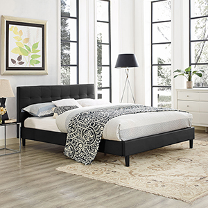 Linnea Queen Vinyl Bed in Black