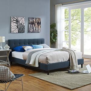 Linnea Queen Fabric Bed in Azure