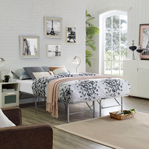 Horizon Queen Stainless Steel Bed Frame in Silver