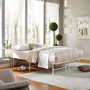 Horizon Queen Stainless Steel Bed Frame in White