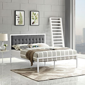 Millie King Fabric Bed in White Gray