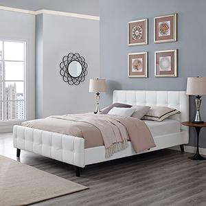 Ophelia Queen Vinyl Bed in White