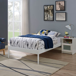 Elsie Twin Fabric Bed Frame in White