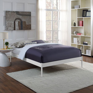 Elsie King Fabric Bed Frame in White