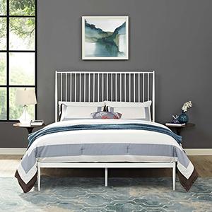 Annika Queen Platform Bed in White