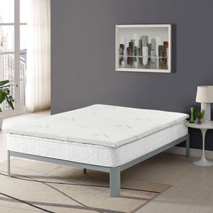 Relax Queen 2-inch Gel Memory Foam Mattress Topper in White