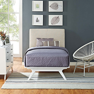 Tracy Twin Bed in White Beige