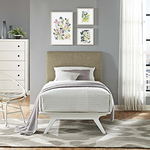 Tracy Twin Bed in White Latte