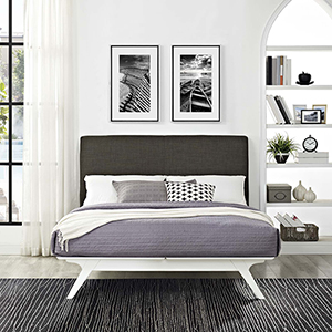 Tracy Queen Bed in White Brown