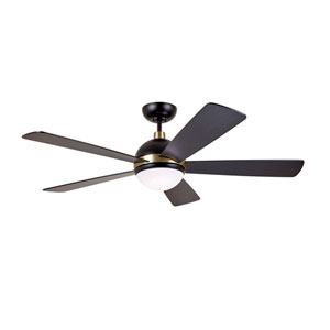 Barbebque Black with Satin Gold Accents LED Astor Ceiling Fan