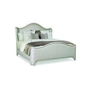 Chateaux Weathered Gray Upholstered Shelter Bed Grey