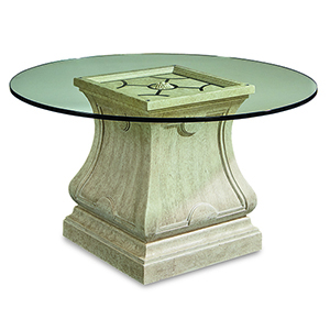 Arch Salvage Cirrus Leoni Round Dining with 54-Inch Glass Top