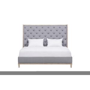Anna Jordan Weathered Oak Upholstered Queen Bed