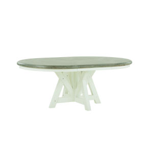 Summer Creek Scrubbed Oak and Harbor White 78-Inch Snug Harbor Round Dining Table