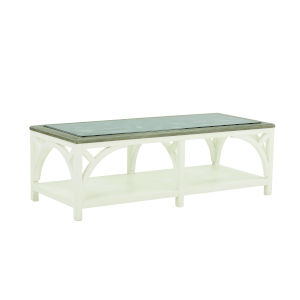 Summer Creek Scrubbed Oak and Harbor White 56-Inch Spinnaker Cocktail Table