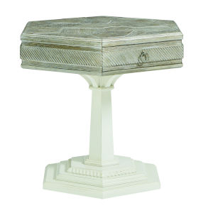 Summer Creek Scrubbed Oak and Harbor White 32-Inch Turtle Island Lamp Table