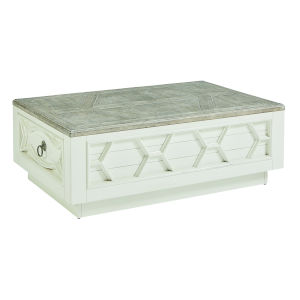 Summer Creek Scrubbed Oak and Harbor White 51-Inch Beachcomber Storage Cocktail Table
