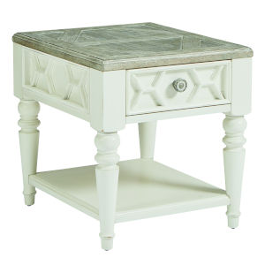 Summer Creek Scrubbed Oak and Harbor White 23-Inch Beachcomber Drawer End Table