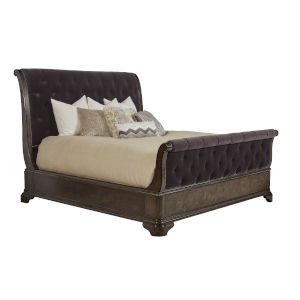 Landmark Mocha 89-Inch King Uph Sleigh Bed
