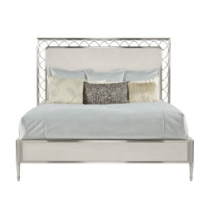 La Scala Ivory and Nickel 82-Inch King Panel Bed