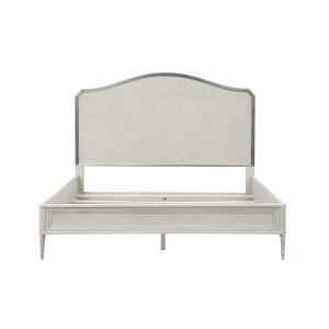 La Scala Ivory and Nickel 80-Inch King Panel Bed