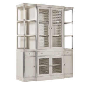 La Scala Ivory and Nickel 69-Inch Curio Cabinets