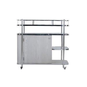 Epicenters 33127 Upholstered Dry Gray 40-Inch Biscayne Mobile Bar