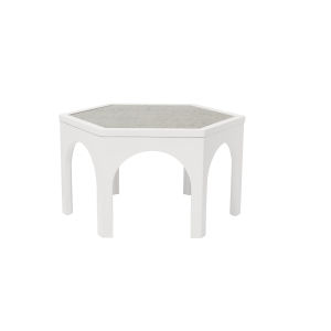 Epicenters 33127 Upholstered Gloss White 26-Inch Kelty Cocktail Table