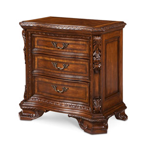 Old World Cathedral Cherry Motif Wood Top Bedside Chest