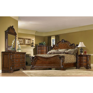 Old World Cathedral Cherry Motif Queen Estate Bed