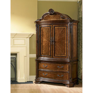 Old World Cathedral Cherry Motif Armoire Set