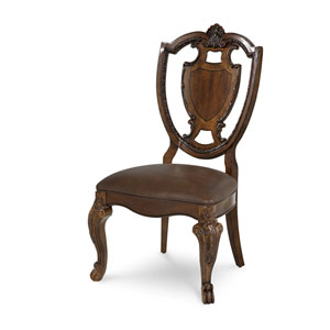 Old World Cathedral Cherry Motif Shield Back Side Chair with Leather Set