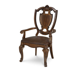 Old World Cathedral Cherry Motif Shield Back Arm Chair with Leather Set
